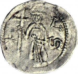 Bolesław I Wysoki 1163-1201, Denar, Wrocław, Biskup/Walka z lwem