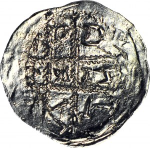Bolesław I Wysoki 1163-1201 lub Mieszko Plątonogi 1163-1211, Denar, nienotowane napisy wewnątrz krzyża