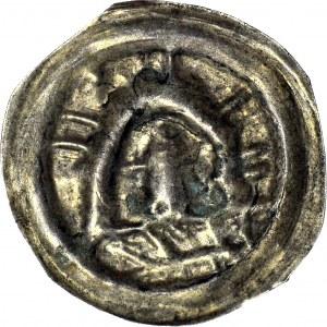 R-, Polska dzielnicowa, Henryk I Brodaty 1201-1238 lub Henryk II Pobożny 1238-1241, Wrocław?, Legnica? Brakteat ratajski, Kopuła, R4