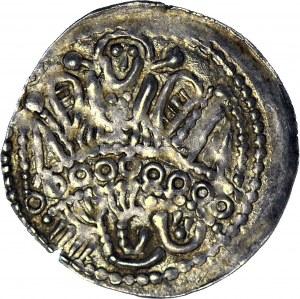 RR-, Bolesław V Wstydliwy 1243-1279, Denar, ok. 1254, Kraków, Św. Stanisław, JEDNOSTRONNY