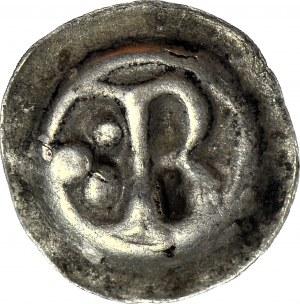 RR-, Kujawy Brzeskie? Brakteat guziczkowy, pierwsza połowa XIII w., litera B trzy kropki