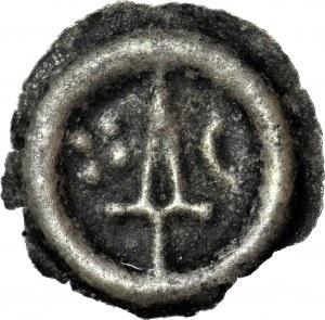 RRR-, Leszek II Inowrocławski (bratanek Władysława Łokietka) 1287-1339, Brakteat, Kujawy, Miecz - półksiężyc, krzyż