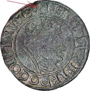 RR-, Zygmunt I Stary, Grosz 1555, Gdańsk/Królewiec, falsyfikat z epoki, rzadki