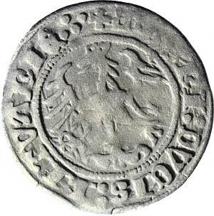 R-, Zygmunt I Stary, Półgrosz Wilno 1515, błąd SIGIS : MVNDI (rozdzielone), rzadki