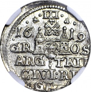 Zygmunt III Waza, Trojak 1619, Ryga, Z LISEM, rzadki, menniczy