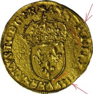 """RR-, Henryk Walezy, Król Polski, Dukat (ecu d""""or) 1589 DATA POD TARCZĄ, R4"""
