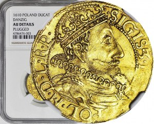 R-, Zygmunt III Waza 1587-1632, Dukat 1610, Gdańsk, rzadki