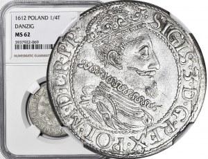 RR-, Zygmunt III Waza, Ort 1612 Gdańsk, kropka za łapą niedźwiedzia, R.PP, menniczy