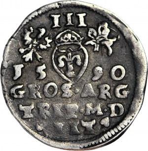 Zygmunt III Waza, Trojak 1590, Wilno, herb Chalecki pod popiersiem
