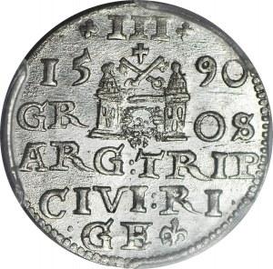 R-, Zygmunt III Waza, Trojak 1590 Ryga, duża głowa