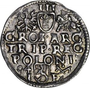 R-, Zygmunt III Waza, Trojak Poznań 1594 POLONI, nieopisana HYBRYDA
