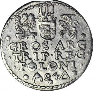 R-, Zygmunt III Waza, Trojak 1594 Malbork, pęknięty pierścień