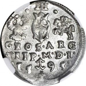 Zygmunt III Waza, Trojak 1595, Wilno, herby Prus i Chalecki