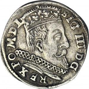 R-, Zygmunt III Waza, Trojak 1598, Wilno, głowa Wołu (Lidman), rzadszy rocznik