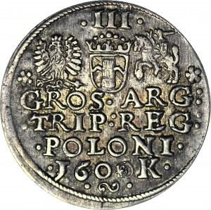 R-, Zygmunt III Waza, Trojak 1600, Kraków, głowa w lewo, ZERO Z OZDOBNIKÓW