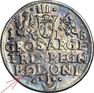RRR-, Zygmunt III Waza, Trojak 1618, Kraków, błąd R(E)OLONI, nienotowany