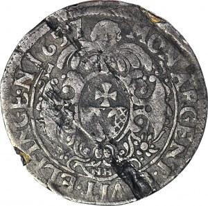 RR-, Miasto Elbląg, Karol Gustaw, Ort 1657 NH, okupacja szwedzka, szeroka korona
