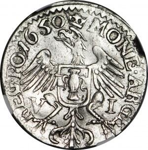 RR-, Jan II Kazimierz, Szóstak 1650, Wschowa, małe popiersie, RZADKOŚĆ