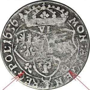 RRR-, Jan II Kazimierz, Szóstak 1656 IT, Okupacja Krakowa, mniejsza głowa, IOAN, b. rzadki