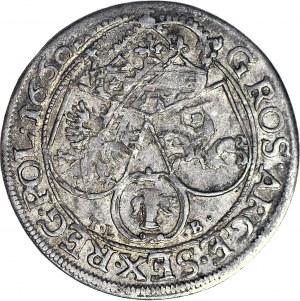 Jan II Kazimierz, Szóstak 1660 TLB, Kraków, DG przeplecione, paski na naramienniku