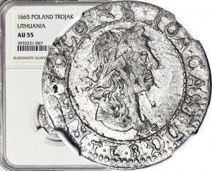 RR-, Jan Kazimierz, Trojak 1665, Wilno, okołomenniczy