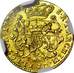 RR-, August II Mocny, 1/4 Dukata 1737 FwoF, Drezno, b. rzadki