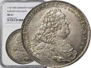 R-, August III Sas, Talar 1757, Drezno, menniczy