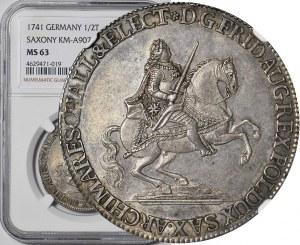 R-, August III Sas, Półtalar Wikariacki 1741, Drezno, menniczy