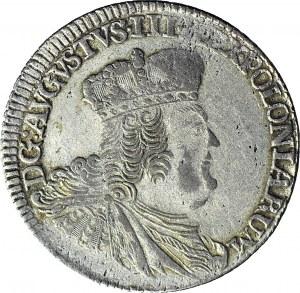August III Sas, Dwuzłotówka (8 groszy) 1753, włosy opadające na plecy