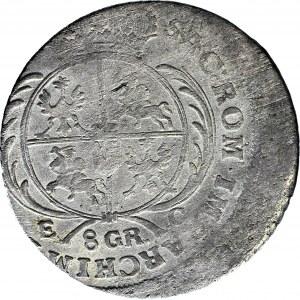 RR-, August III Sas, Dwuzłotówka (8 groszy) 1753, Lipsk, DESTRUKT DWUKROTNIE UDERZONY