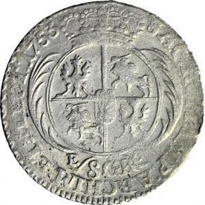 August III Sas, Dwuzłotówka (8 groszy) 1753, ozdobne szaty