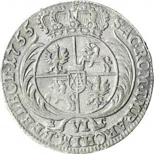 R-, August III Sas, Szóstak 1755, Lipsk, rzadkie popiersie, krzyżyk na S