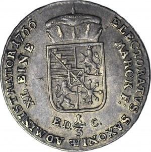 R-, Ksawery jako administrator, 1/3 talara 1766, Drezno