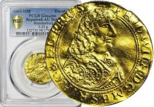 RR-, Prusy, Fryderyk Wilhelm Wielki, Dukat 1663, Królewiec, bardzo rzadki