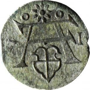 RR-, Lenne Prusy Książęce, Albrecht Fryderyk, Denar Królewiec 1571, piękny