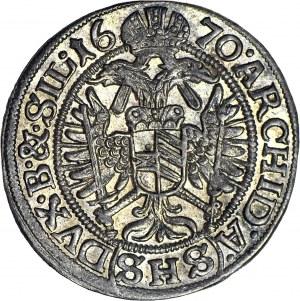 Śląsk, Leopold I, Wrocław, 3 krajcary 1670, A.(SHS)DUX, mennicze