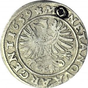 RRR-, Śląsk, Jerzy III Brzeski, 3 krajcary 1659, Brzeg, D(3)UX zamiast DU(3)X, najrzadszy rocznik