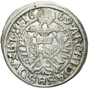 Śląsk, Leopold I, 3 krajcary 1669, Wrocław, bardzo ładne