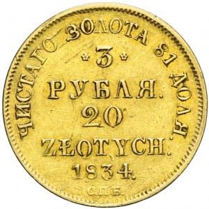 R-, Zabór rosyjski, Mikołaj I, 3 ruble = 20 złotych 1834, Petersburg