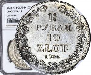 Zabór Rosyjski, 10 złotych = 1 1/2 rubla 1836 NG, Petersburg, PIĘKNE