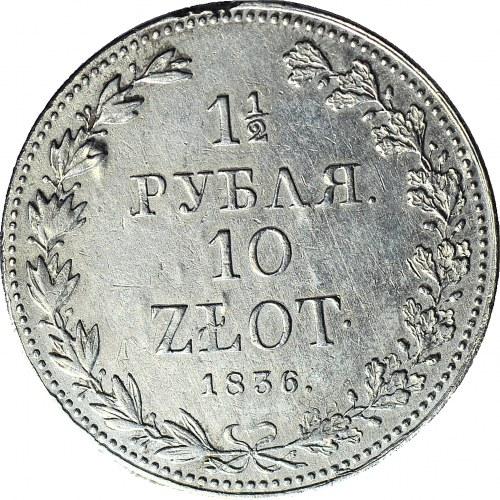 Zabór Rosyjski, 10 złotych = 1 1/2 rubla 1836, Warszawa, wąska 6 w dacie
