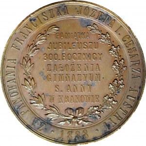 R-, Medal 1883, 300-lecie Gimnazjum św. Anny w Krakowie, sygnowany Głowacki, brąz 53mm