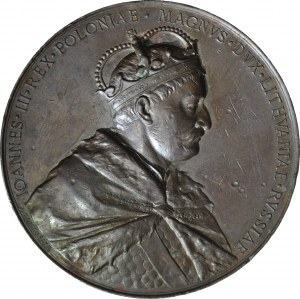 R-, Medal 1883, Jan III Sobieski, Odsiecz Wiedeńska, sygnowany Tautenhayn, brąz 70mm