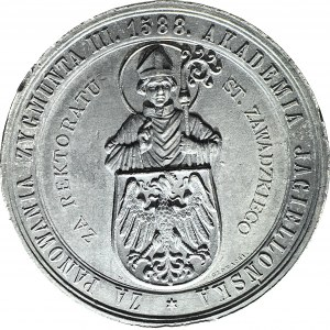 R-, Medal 1883, 300-lecie Gimnazjum św. Anny w Krakowie, sygnowany Głowacki, cynk 53mm