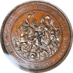 R-, Medal 1883, Jan III Sobieski, 200-lecie Oswobodzenia Wiednia, brąz 53mm, WYŚMIENITY