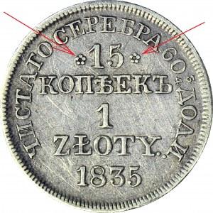 R-, Zabór Rosyjski, 1 złoty = 15 kopiejek 1835 MW, odmiana tylko 15% notowań
