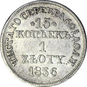 Zabór Rosyjski, 1 złoty = 15 kopiejek 1836 MW, piękne