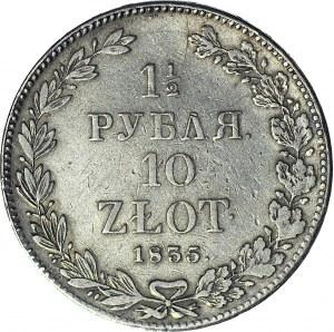 Zabór Rosyjski, 10 złotych = 1 1/2 rubla 1835 NG, Petersburg