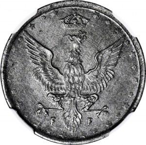 R-, Królestwo Polskie, 10 fenigów 1917 FF, napis blisko obrzeża, IDEALNE