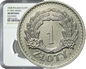 RR-, PRÓBA, 1 złoty 1928, Wieniec z kłosów, nikiel, bardzo rzadka
